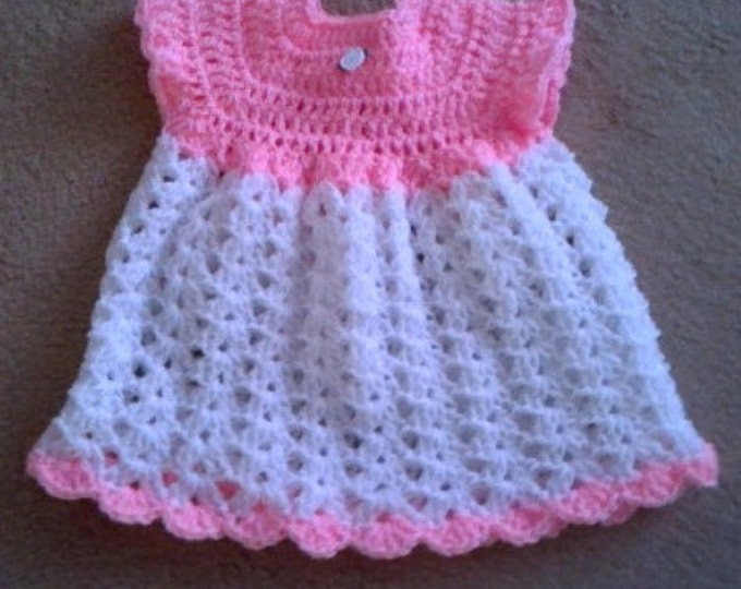 Pink & White Dress with Booties, Baby Dress, Baby Booties, Baby Shoes, Baby Shower Gift, Ready to Ship, White Dress, Crochet, Pink Dress