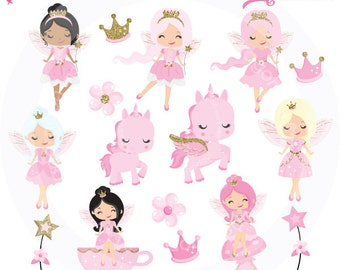 Pink & Gold Fairy Clipart, Fairy Party clipart, Fairy Princess clipart, unicorn clipart, Fairy clip art, Commercial License Included