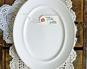 White Ironstone Ribbed-Edge Oval Serving Platter - One Johnson Bros. and one JB ATHENA, Serving Plate, White Ironstone, White Oval Platter