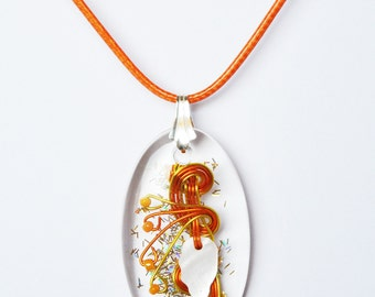 Pendant, Crystal resin, aluminum wire, glass beads, 925 sterling silver. LBC17032017C