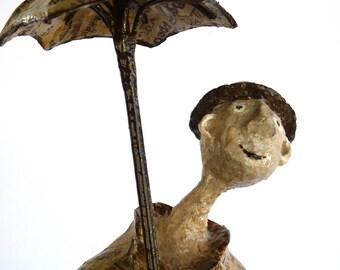 The man with umbrella, Paper Mache, Paper Mache art, sculpture, Home décor, Unique handmade sculpture, Gift, Art sculpture, Shelf decor