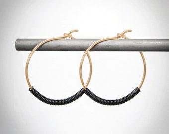 Mixed Metal Hoop Earrings, Gold Hoop Earrings,Gold & Black Hoop Earrings, Two Tone Earrings, Gold Hoop Earrings, Black Hoop Earrings, USA