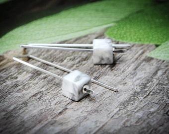 Sterling Silver Earrings, White Stone and Silver Earrings, Natural Stone Earrings,Two Tone Earrings, Modern Threader Earrings, Lightweight