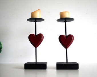 Set of 2 wooden Candlesticks. Swedish Vintage Hand Painted Wood Candle Holders Heart shape Wood Candleholders. Scandinavian Home Decor