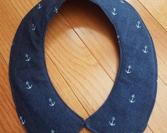 Faux Peter Pan Collar - Navy Anchors - Printed Denim - Nautical