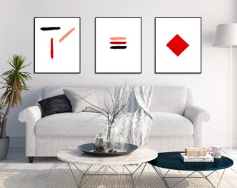 Modern Art Prints Wall Art Set Abstract Wall Art Geometric Wall Art Minimalist Art Prints Modern Abstract Art Red Wall Art