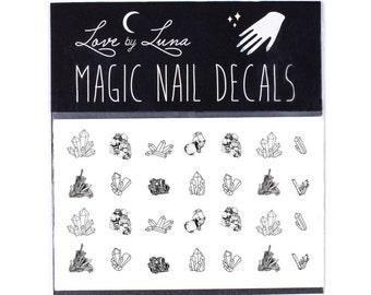 Crystal Nail Decal / Crystals / Gems / Mystic / Healing Crystal / Quartz / Nail Art / Nail Wraps / Nail Tattoo / Nail Design