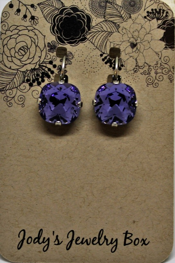 SALE-12mm Swarovski crystal Tanzanite lever back earrings