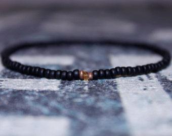 Black Bead Bracelet for Men - Sapphire Bead - Men's Bead Bracelets Gem - Tunduru Sapphire with Raw Incrustations, Mens Seed Bead