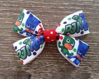 Pj Masks Bow Clip | Pj Masks Bow | No Slip Alligator Clip | Owlette Hair Clip | Pj Masks Birthday Party | Pj Masks Party Favors
