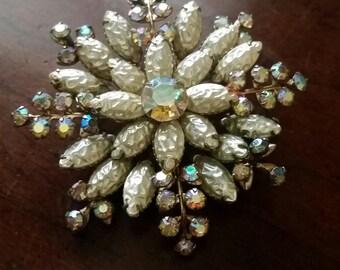1950's Beau Jewels Pearl and Aurora Borealis Brooch.  Vintage Wedding Brooch.