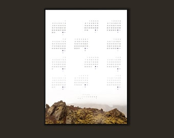 Minimalist Wall Calendar 2017, 50x70cm, MAGICAL Art poster, Gifts for her, Travel, Office Calendar Iceland Travel Photography, Nordic Design