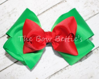 Christmas Hair Bow, Large Christmas Bow, Boutique Bow, Twisted Boutique Bow, Girl's Christmas Bow,  Holiday Bow