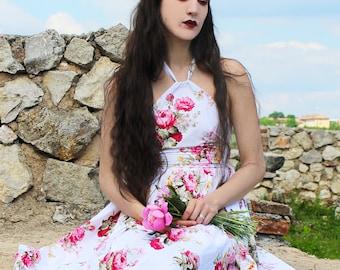 Floral Dress, Summer Dress, Flower Dress, Cute Dress, Roses Dress, White Summer Dress, Low Cut Back, Beach Dress, Feminine Dress, Casual