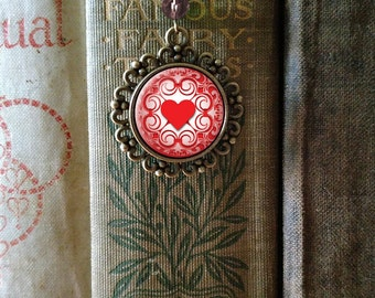 Elegant heart book hook / bookmark with dangling glass cabochon accent