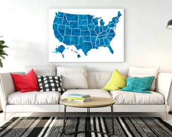 United States Map 50 States All States Usa Map Large Us Map Poster Navy Blue Map
