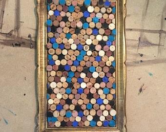 """Medium Blue, Black & Teal hand painted multilevel Cork Board in Vintage Gold Wood Frame - 21"""" x 13"""""""