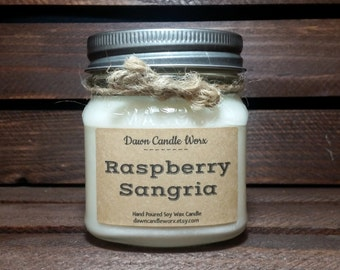 8oz Handmade Soy Candles - Gift for Mom - Wine Candle - Mason Jar Candles - Scented Candles - Raspberry Sangria - Mother's Day Gift