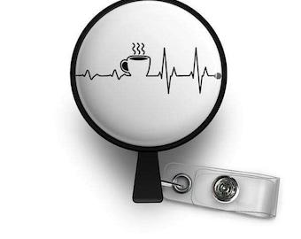 Coffee EKG Retractable ID Badge Reel