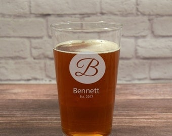 Custom Beer Glass, Personalized Beer Glasses, Etched Beer Glasses, Beer Gift, Wedding Gift, Anniversary Gift, Custom Beer Glasses, Monogram