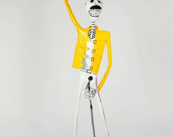 Freddie Mercury, Catrina, Day of the dead, sculpture, skeleton, hand made, paper mache, figure, mexican art, Skull, fan art