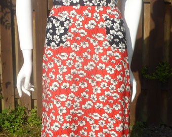 1930s 1940s style Red white and blue poppy print dress