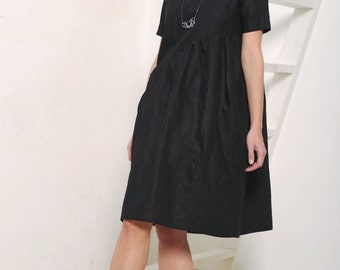 Womens dress Women's black dress Black linen dress Linen