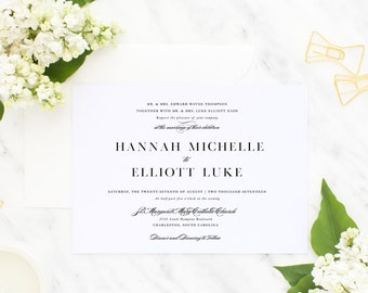 Printable Wedding Invitation Suite / Formal, Classic / Wedding Invite Set - Hannah Michelle