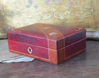 Vintage Italian Leather Jewelry Box Locks-Masculine Dresser Box