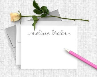Personalized Stationery Set, Personalized Note Card Set, Calligraphy Stationary, Thank You Note Cards, Custom Stationery, Script  CS02