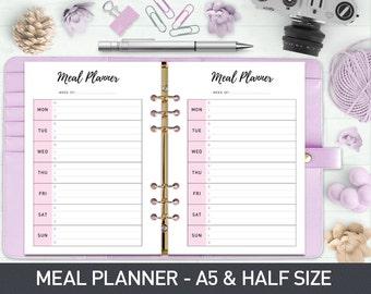 A5 Meal Planner Printable, Weekly Meal Planner, Menu Planner, Printable Meal Schedule, Shopping list, Meal Planner Half Size, Food Planner