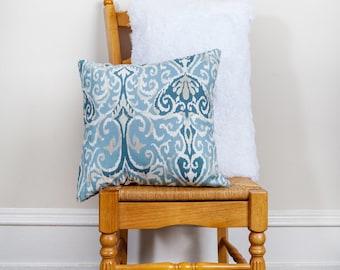 Blue Pattern Pillow, Blue Scroll, Pattern Pillow, Blue Pillow, Blue Decor, 18x18 Pillow, Square Pillow, Beach House Decor, Cotton Pillow