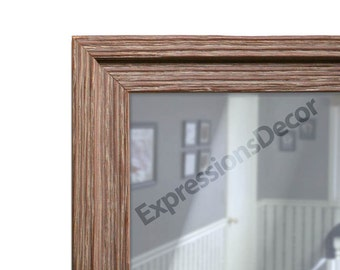 Custom Ribbed Weathered Wood Wall Mirror - Flat Glass - FREE SHIPPING