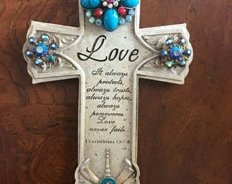 Ovarian cancer jeweled cross.