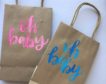 Personalized Gift Bag | Custom Gift Bag | Kraft Bag | Party Bag | Baby Shower | Gift Bag | Hand Lettered