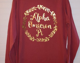 Alpha Omicron Pi 102 Wreath Comfort Color TShirt, Short Sleeve or Long Sleeve with Glossy Gold Letters