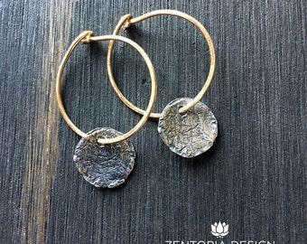 ON SALE! Moon and Sun Earrings, Hoops, Eclipse, Dangle Earrings, Handmade Jewelry, Drop Earrings, Hand Forged Earrings, Silver/Bronze