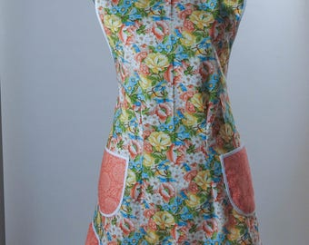Vintage Style Apron-Coral Floral Theme with Soft Coral Accent-Full Coverage-Figure Flattering Design-Bottom Ruffle-Lined Pockets-White Trim