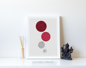 Red Bubbles Digital Print, Minimalist Bubble Prints, Geometric Bubble Decor, Circle Poster, Red Poster, Geometric Set, Instant Download Gift