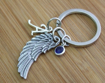 Angel Wing Key Chain, Guardian Angel Key Chain, Personalized Key Chain, Remembrance Key Chain, Purse Accessory, Initial Charm, Mother's Day