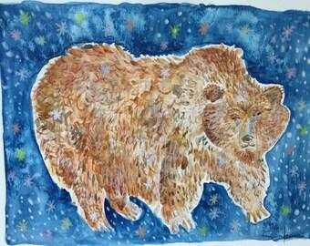SALE - Bear painting, original painting, Bear, original art