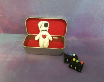 Mini Voodoo Doll with Pins in Tin Box