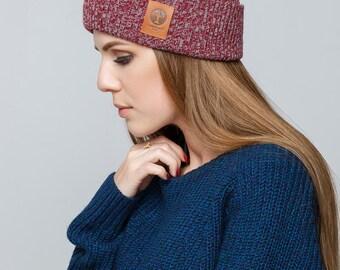 Women's Knit Hat / Mens Knit Hat / Winter Hat / Knitted Beanie / Melange Cherry Grey Hat