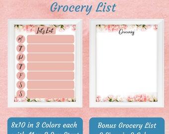 Weekly Meal Plan & Grocery List, Command Center Print, Menu Board Printable, Dry Erase Menu, Pink Meal Plan, Weekly Menu Planner, Groceries