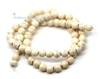 72 pcs - Creamy White Howlite Imitation Turquoise Beads - 6mm Beads - Jewelry Beads - Howlite Beads - Turquoise Beads - White Beads - B011