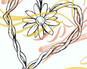 Straw daisy Heart
