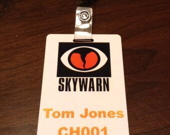 Custom SKYWARN printed ID badge -- ready to wear with clip -- free shipping in U.S.