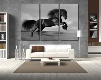 Horse Horse canvas Horse print Horse photo Horse poster Horse wall art Black Horse Horse wall decor Horse Wall Art Extra Large Canvas