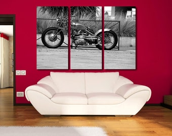 Motorcycle BW Wall Art Multi Panels Set BW Wall Art Motorbike Canvas Art Retro Wall Art BW Print Poster