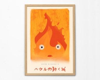 Howl's Moving Castle Minimal Poster, Miyazaki Print, Calcifer Flame Fire, Studio Ghibli, Home Interior Decor, Anime Wall Art, Nursery Decor